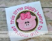 Pig Applique Shirt - Farm Theme - Animal Applique - Girl's Birthday Shirt - This little piggy went to the market