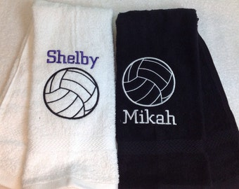 Personalized volleyball towel, volleyball gift, embroidered towel, monogrammed towel, message for team orders, 16 x 27
