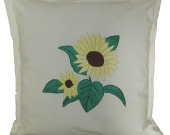 Hand-Embroidered Sunflower Pillow