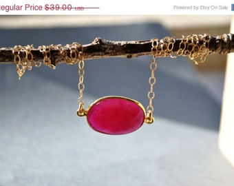 SALE Ruby Necklace - July Birthstone Necklace - Ruby Jewelry