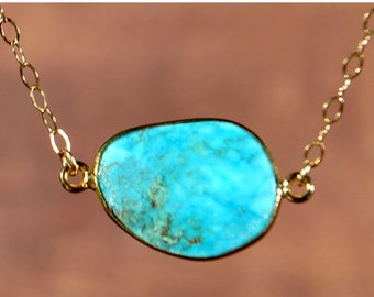 SALE Turquoise Necklace - December Birthstone Jewelry - Turquoise Jewelry - December Birthstone Necklace - Natural Turquoise Jewelry