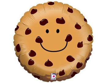 """Chocolate Chip Cookie Balloon Large 21"""" Mylar Cookie Monster Party Sesame Street Party Food Balloon"""