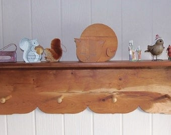 """Four Peg Coat Rack with 40"""" Shelf Handmade from Reclaimed Solid Cherry"""