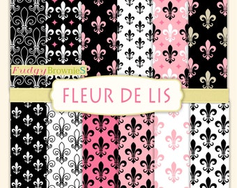 "ON SALE , French Digital Paper backgrounds , fleur de lis Digital paper 12""x12"", No.122-2 Paris fleur de lis Scrapbook paper"