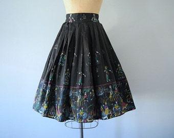 1950s novelty print skirt . vintage 50s hand painted skirt