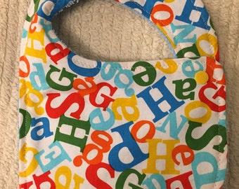 Alphabet-Towel Bib, Newborn Bib, Baby Bib, Infant Bib
