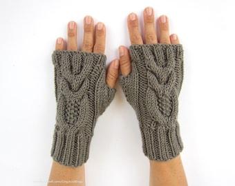 gray-beige arm warmers with owls wrist warmers hand knit mittens fingerless gloves gray-beige owl wool blend