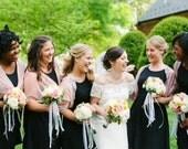Bridesmaids shrugs, set of 6 blush loop shawls. Great bridesmaids cover ups. 15% off