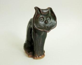 Spooky Halloween Cat - Folk Art Scaredy Cat Figurine - Abstract Art Pottery Cat Sculpture - Primitive Rustic Decor - Halloween Decoration