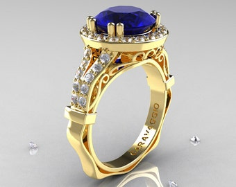 Caravaggio 14K Yellow Gold 3.0 Ct Blue Sapphire Diamond Engagement Ring, Wedding Ring R620-14KYGDBS