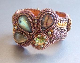 Free Shipping , Bead Embroidery,  Bracelet, Statement cuff,  Seed bead bracelet,  Labradorite gemstone,  Savannah colors, Swarovski