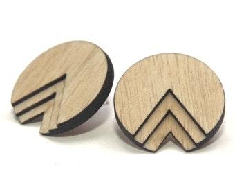 AKHU | round wood studs, laser cut wood post earrings