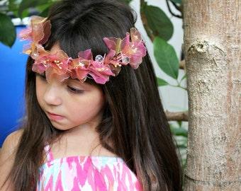 Floral Crown, Mauve Pink Flower Crown, Fall, Autumn, woodland wedding wreath, whimsical, headpiece, Wedding, Bridal Headpiece