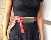 Genuine leather Red belt with front metal gold colored detatchable buckle