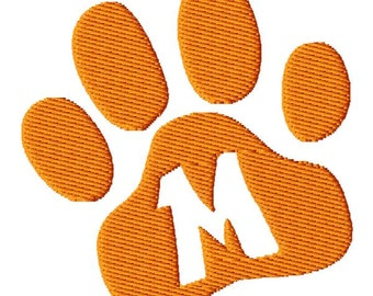 Paw Print Letter M Embroidery Design - Instant Download