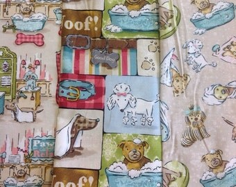 Spx fabrics pampered pooch collection spa day, spa day collage and pamper day designs by the half metre 100% cotton