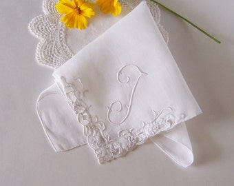 Monogrammed T Bride's Wedding Hanky, Vintage Wedding Handkerchief in Antique White with Appliqued Edge