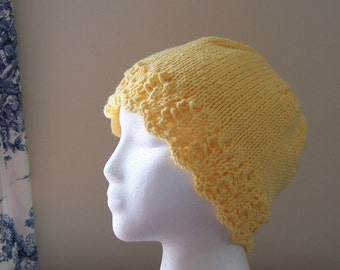 Chemo Hat Cotton Sleep Cap for Women, Hand Knit in Lemon Yellow soft yarn with lace edge accent, Ships ASAP, Cancer Patient Gift