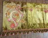 Antique French 1800s Chateau window curtain canopy pelmet valance green silk velvet w hand painted acanthus design w bobble trimming