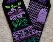 Wool Mittens Norwegian Scandinavian folk art, hand crafted, 100% Wool,Flower Fair Isle