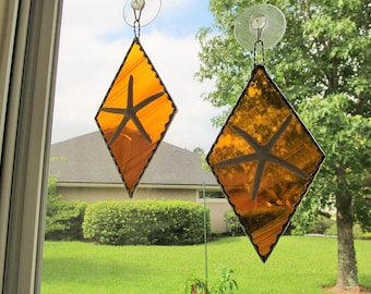 Stained Glass Authentic Starfish Diamond Shaped Panel in Amber and White Wispy Translucent Glass with Twisted Wire Handcrafted Hanger