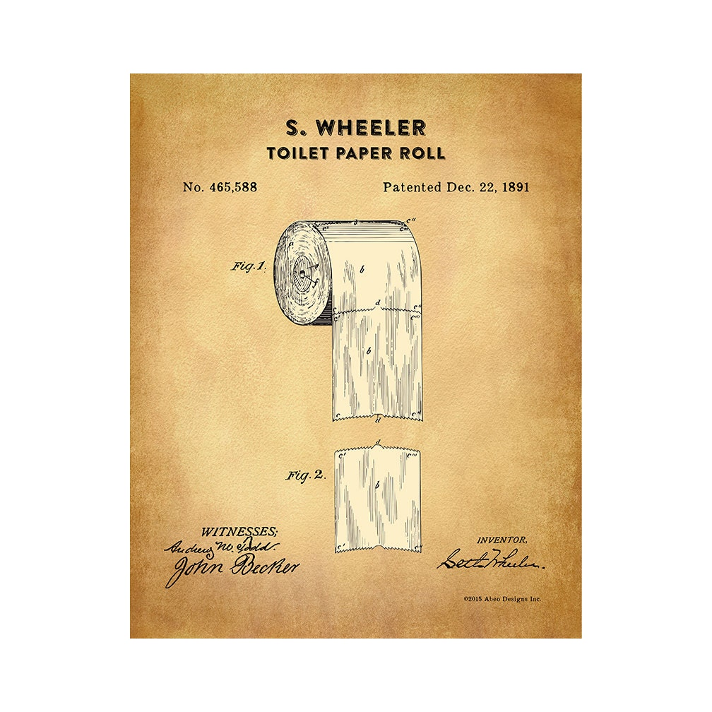 1891 Toilet Paper Roll Patent Print Patent By Decals4mywalls