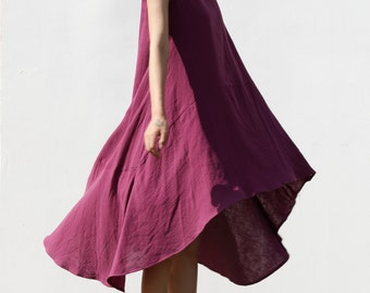 2015 New Lagenlook Ethnic Dress Loose Fitting Dress in Purple Red - NC574