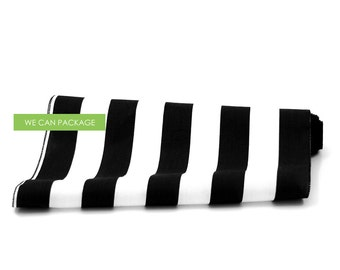 "White and Black Striped Table Runner 18"" x 108"" Cotton"