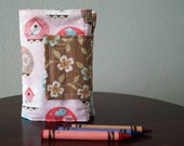 Crayon Wallet - Birdhouses - Pink, Brown, Light Blue - Crayon Holder - Crayon Roll - Crayons & Paper Included