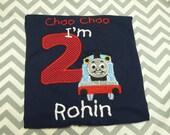 Choo Choo I'm 2 Birthday Shirt, Navy, Sizes 2T, 3T Thomas The Train