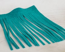 Genuine Leather Fringes, Teal Suede