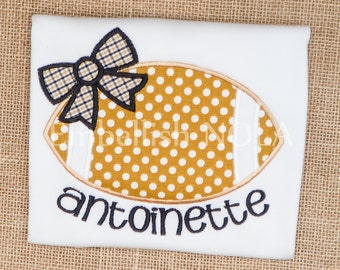Black and Gold Saints Inspired Girly Bow Football Applique Shirt or Bodysuit
