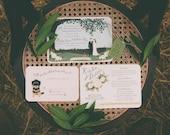 Custom Illustration Design - Bride & Groom - Wedding Invitation - Invite +RSVP +Map/Reception +Tag - Rustic Whimsical