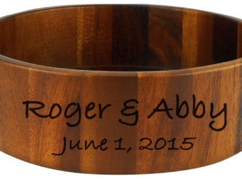 Personalized Wooden Salad Bowl