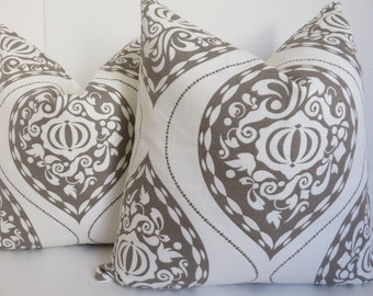 Pillow Cover - 2 Pillow Covers -White Gray Pillow - 18x18 Pillow - Ikat pillow, White Pillow - Gray Pillow