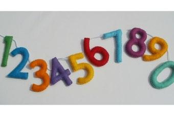 Felt number bunting - number garland - felt number bunting - colourful number bunting