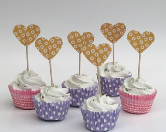 Cupcake topper - food pick - tooth pick heart shaped warm yellow -20 pcs.