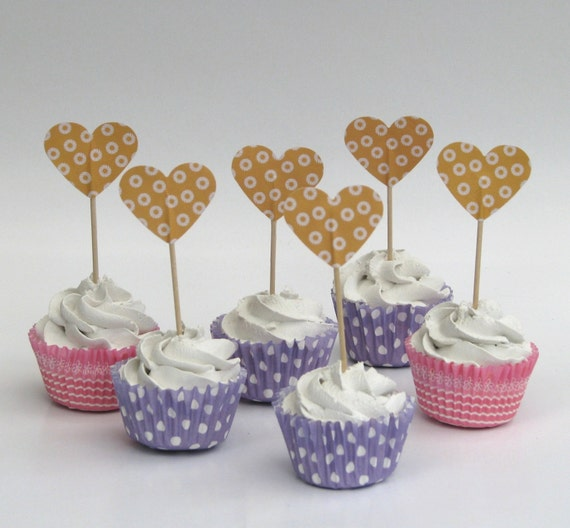 CLEARANCE 50% off - Cupcake topper - food pick - tooth pick heart shaped warm yellow -20 pcs.
