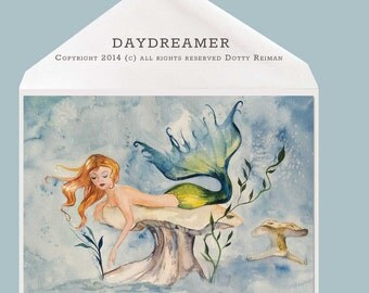 """Mermaid art """"Day Dreamer"""" blank Greeting Card by Dotty Reiman - Option to Add Your Personal Message Inside of Card!"""
