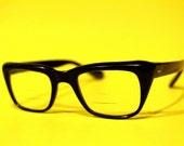 Vintage 60s Designer Black Classic Eyewear Unisex Frames Shades Hipster High Fashion Librarian
