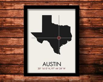 Austin Map Print   Austin Map Art   Austin Print   Austin Gift   Texas Map   11 x 14 Print