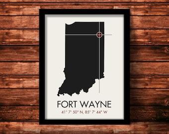 Fort Wayne Map Print   Fort Wayne Map Art   Fort Wayne Print   Fort Wayne Gift   Indiana Map   11 x 14 Print