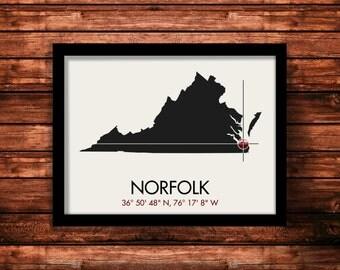 Norfolk Map Print   Norfolk Map Art   Norfolk Print   Norfolk Gift   Virginia Map   11 x 14 Print