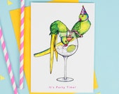 It's Party Time: Parakeets in Party Hats Stealing Gin Birds in Hats Greetings Card