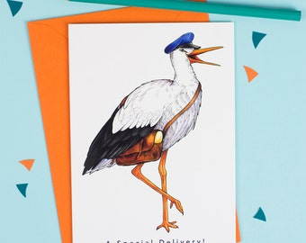 A Special Delivery!: Stork in a Postman's Cap Birds in Hats Greetings Card