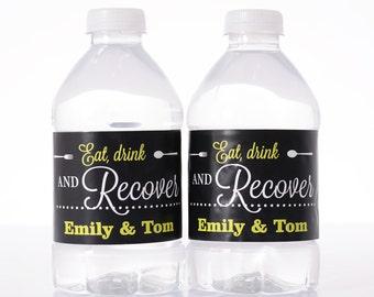 Vintage Wedding Decor - Personalized Water Bottle Decorations - Wedding Water Labels -  Waterproof Water Bottle Labels