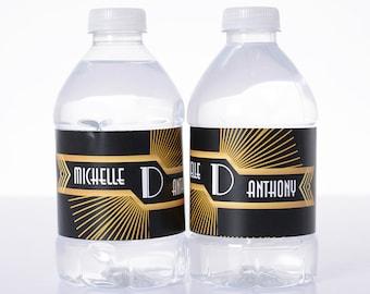 Gatsby Wedding Decor - 50 Wedding Water Bottle Labels - Custom Water Bottle Labels - Waterproof Water Bottle Labels - Art Deco Wedding