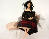 Goth Boudoir cloth art doll poseable steampunk PeggyO