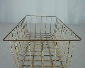 "Vintage 40's Wire Egg or Apple Basket with Crackling Paint and Patina 15"" Long"