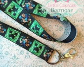 """Craft Mine Video Game 18"""" Double Ribbon Lanyard with Lobster Clasp~ Support Non-Profit Teen Organization"""